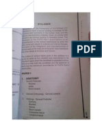 Part 1 Syllabus for Dentistry