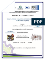 Ensayo de La Unidad 1 Planificación de Requerimientos de Materiales (Mrp).