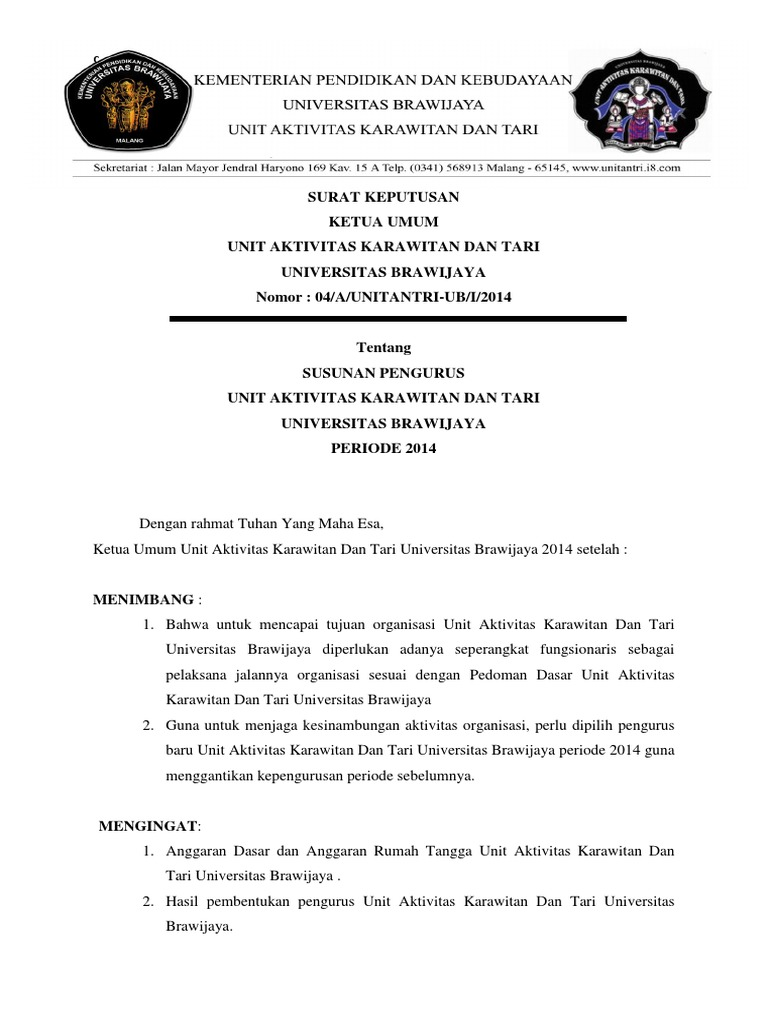 surat keputusan organisasi