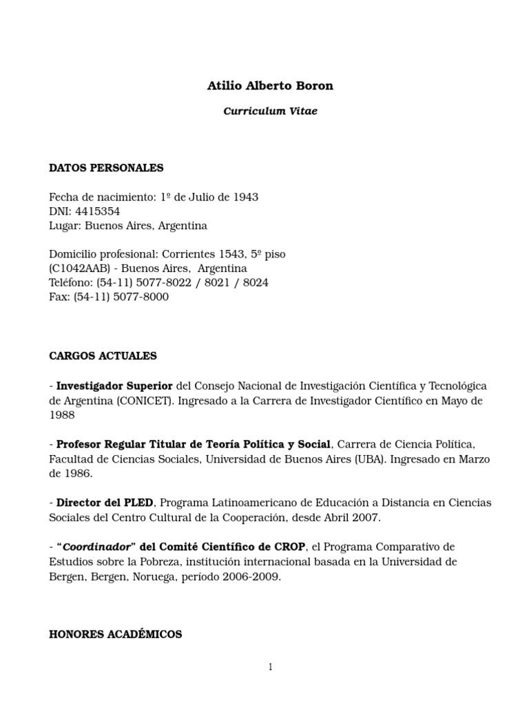 CV,Atilio Borón, Marzo 2010