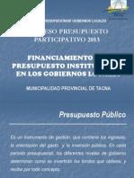 FINANCIAMIENTO PRESUPUESTO 2013