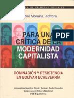 Para una critica de la modernidad capitalista. Mabel Moraña (editora).