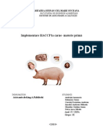 Implementare HACCP La Carne- Materie Primă