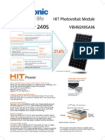 Panasonic HIT 240S Data Sheet