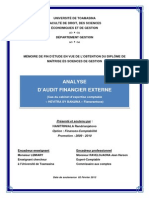 Analyse d'audit financier externe