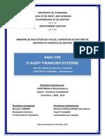 Analyse d'audit financier externe