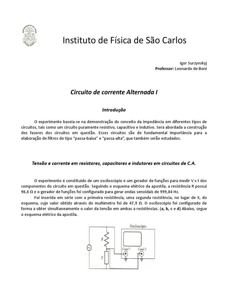 Circuito And : Lab 3 prática 12 circuitos de corrente alternada i