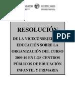 EJGV 2009_RESOLUCION COMIENZO CURSO 2009-2010