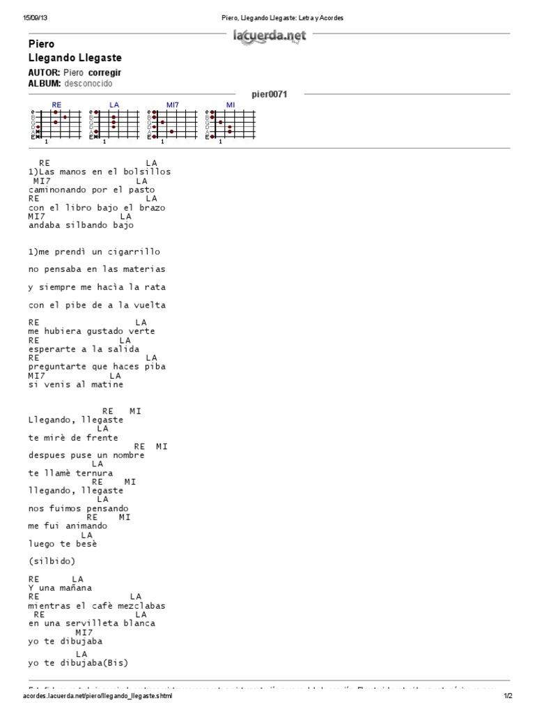Piero Llegando Llegaste Letra Y Acordes Musica Grabada Albumes