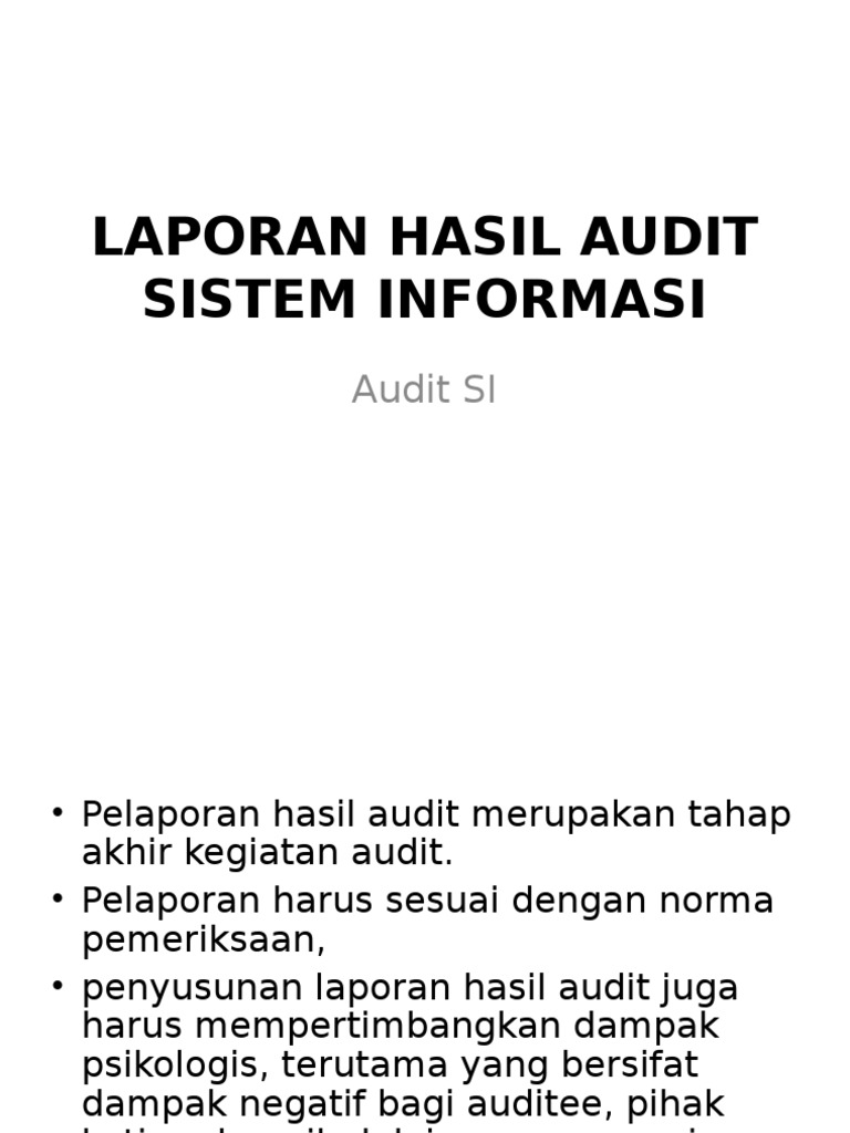 Laporan Hasil Audit Sistem Informasi