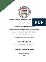 IMPLEMENTACIÓN DE UN ANÁLISIS DE MANTENIMIENTO BASADO EN CONDICIÓN DE LOS COMPRESORES RECIPROCANTES Y DE TORNILLO