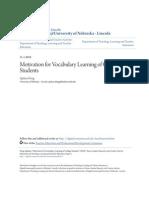 Motivation for v Ocabular y Learning of College