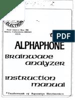 Alphaphone Brainwave Analyzer Instruction Manual and Drawings