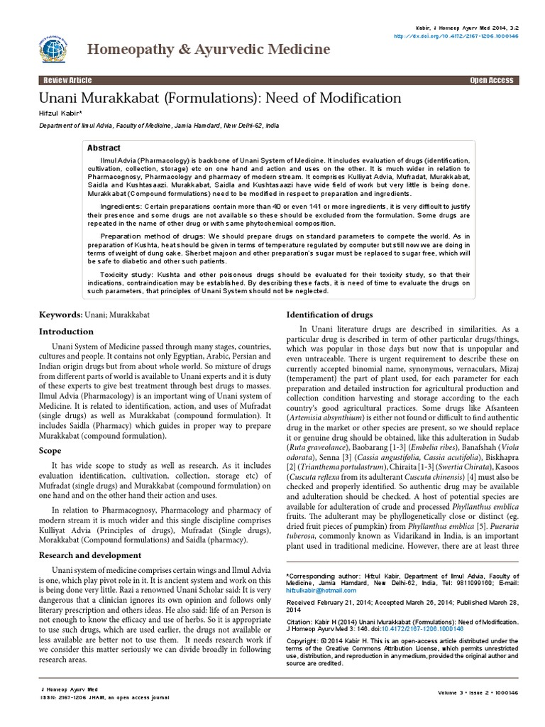 Unani Murakkabat Formulations Need Of Modification 2167 12061000146   Clinical Trial  Pharmaceutical Drug