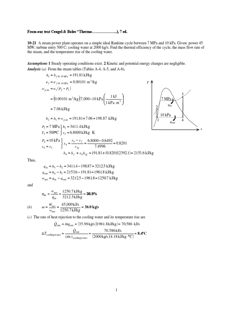Handout Rankine Cycle Example   Steam   Pascal (Unit)