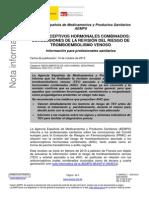 NotaInformativa-Tromboembolismo y Anticonceptivos