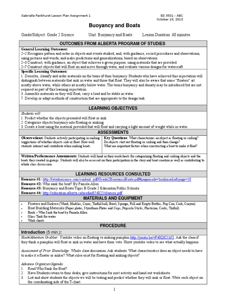 Gabrielle pankhurst lesson plan buoyancy boats geenschuldenfo Image collections