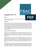 FRAC - Pathogen Risk List