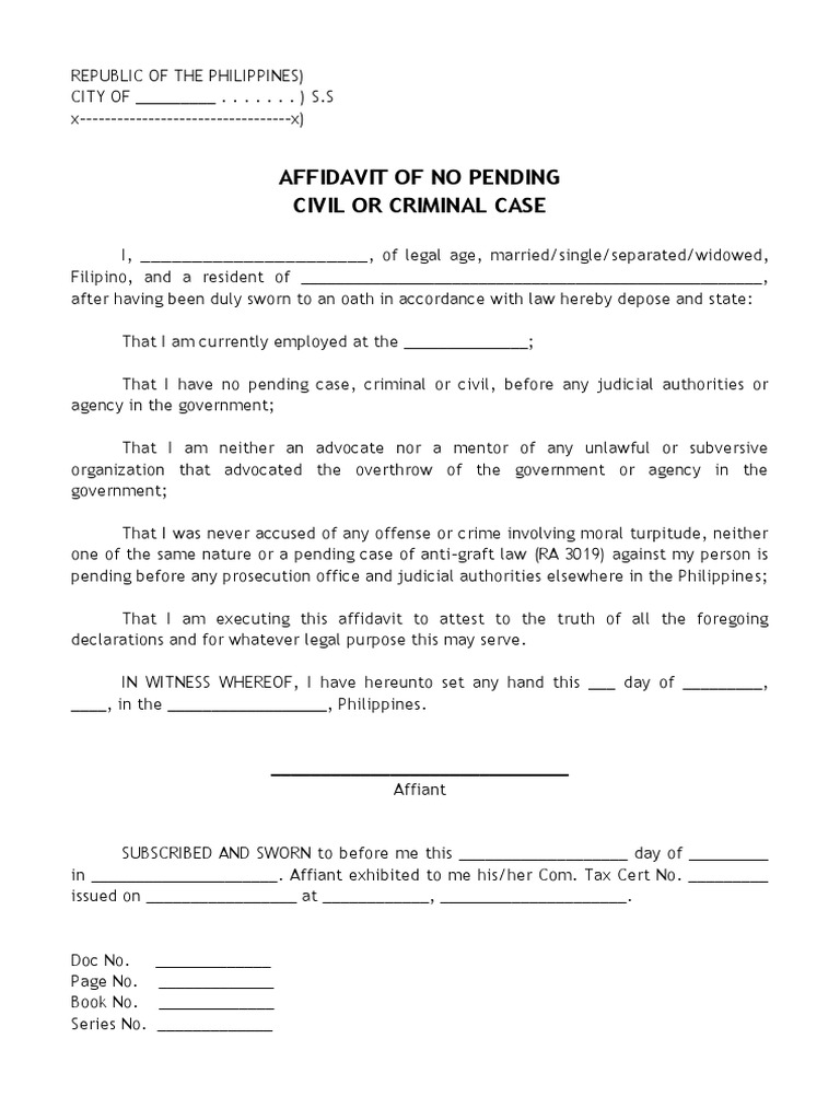 Affidavit of no pending civil or criminal case 1534209211v1 thecheapjerseys Image collections