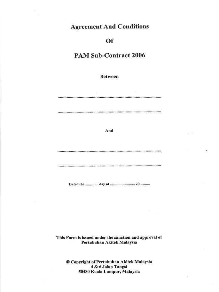 Agreement Conditions Of Pam Sub Contract 2006