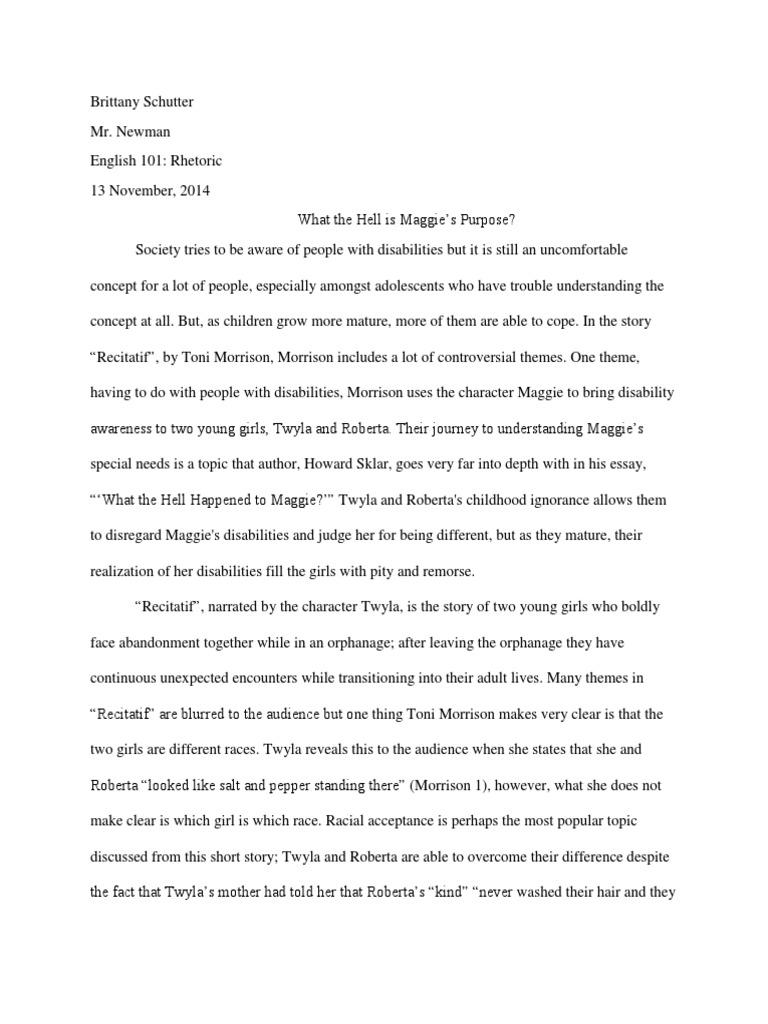 toni morrison recitatif essay