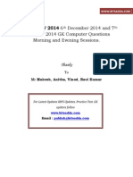 IBPS Clerk IV 2014 6th December 2014 and 7th December 2014 GA Computer Questions Morning and Evening Sessions Bitsadda