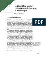 La Identidad Social o El Retorno Del Sujeto en La Sociología