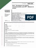NBR 6484 - 2001 - Solo - Sondagens de Simples Reconhecimentos Com SPT - Método de Ensaio