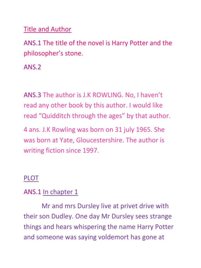 Title and Author   Fantasy Novels   Harry Potter Universe