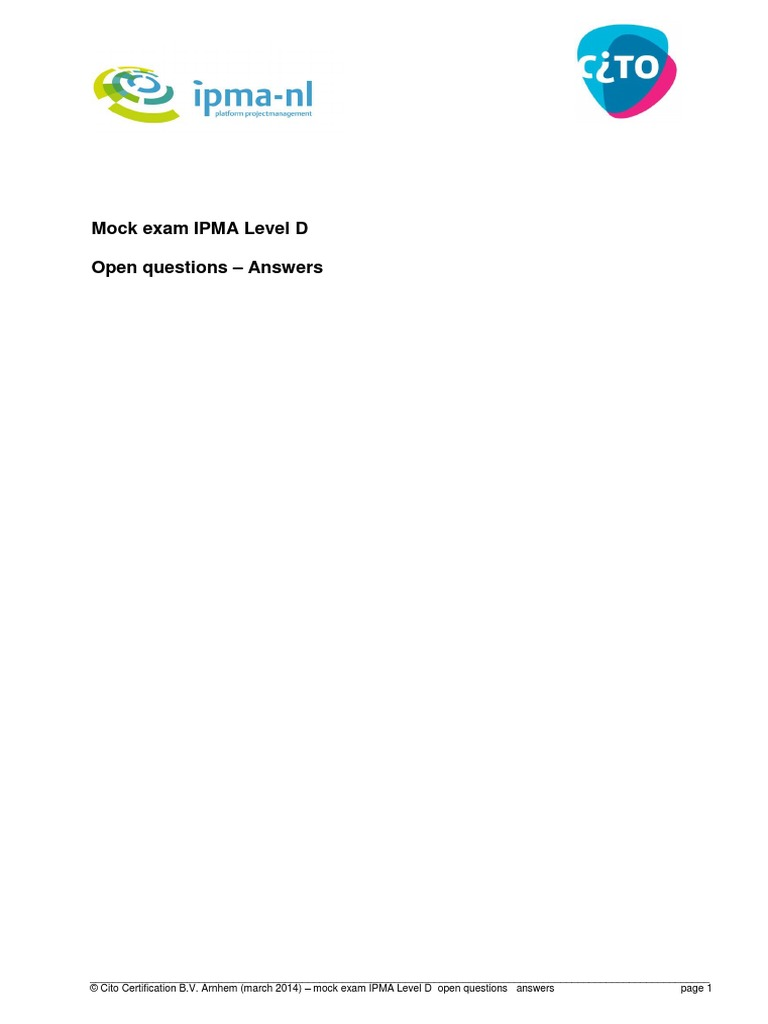 Cito Mock Exam Ipma Level D Open Questions Answers Risk Management