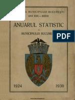 Anuarul Statistic Al Orasului Bucuresti 1924 1930