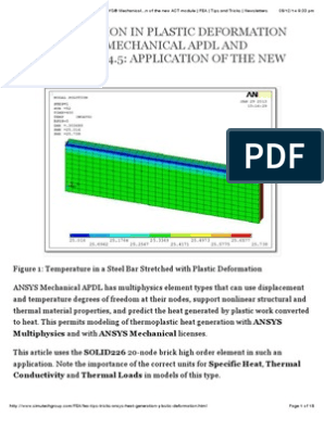 Heat Generation in Plastic Deformation using ANSYS® Mechanical APDL