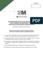 PROCEDIMIENTO SELECTIVO PARA INGRESO EN EL CUERPO DE MAESTROS Y PARA ADQUISICIÓN DE NUEVAS ESPECIALIDADES