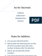 rules for decimals -x divide