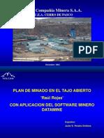 """VOLCAN.- Plan de Minado en El Tajo Abierto """"Raúl Rojas"""" Con Aplicacion Del Software Minero DATAMINE"""