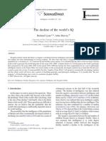The Decline of the World's IQ - World IQ scores