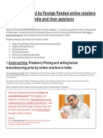 White Paper on Problems Created By Foreign Funded Online Retailers Like Flipkart, Amazon and Snapdeal in India And Their Solutions