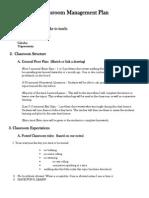 classroom management plan postma