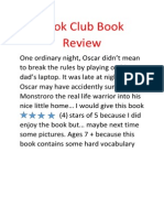 Book Club Book Review - Aidan 4B