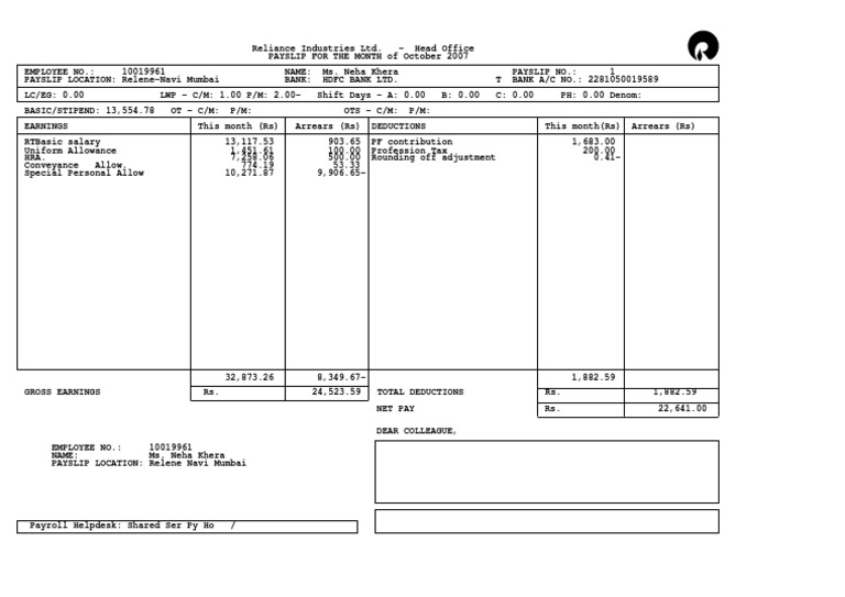 Employee Payment Slip Format Free Salary Slip Format in Word PDF – Sample Payslip Doc