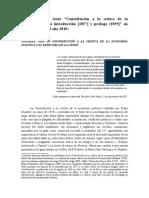Introduccion Al Texto-contribucion a La Critica de La Economia Politica Introduccion y Prologo