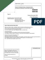 IGCSE Math Question Paper 2 October/Novermber 2003