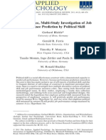 A Multi-Source, Multi-Study Investigation of Job Performance Prediction by Political Skill