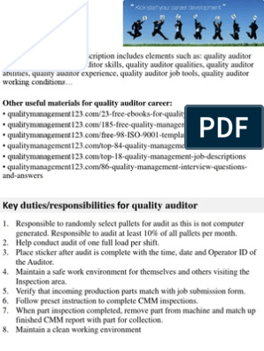 Quality Auditor Job Description | Performance Appraisal