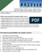 Quality Checker Job Description