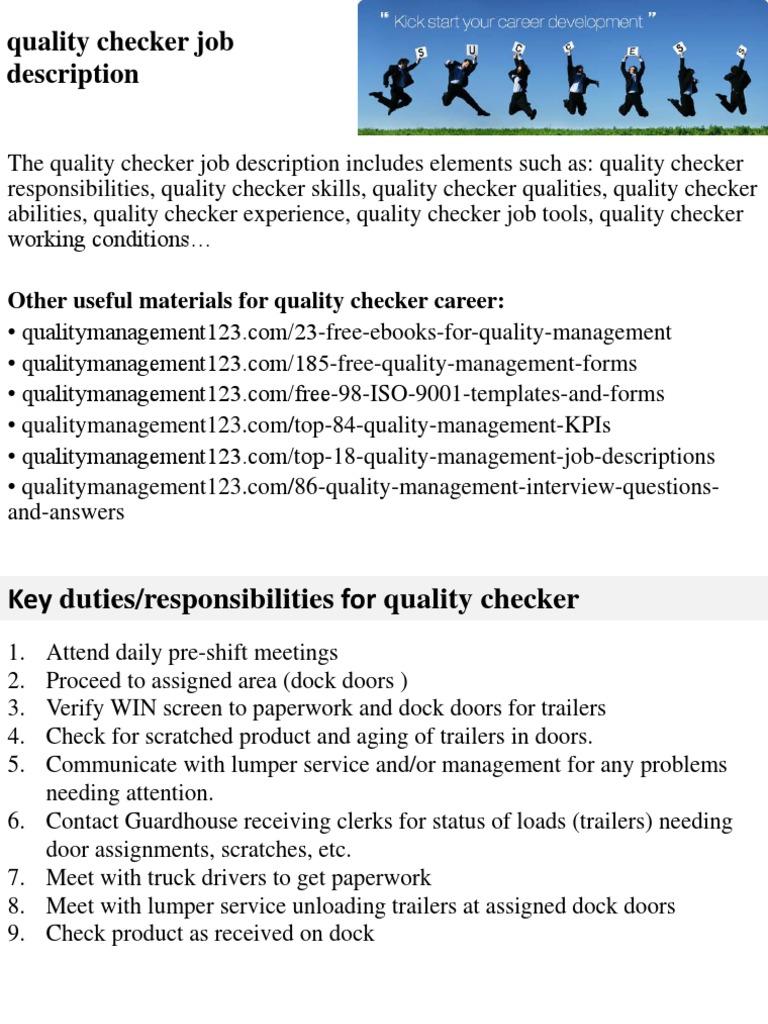 quality checker job description employment recruitment