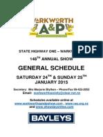 Warkworth A & P General Schedule 2015