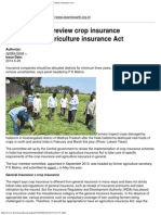 Panel Set Up to Review Crop Insurance Recommends Agriculture Insurance Act