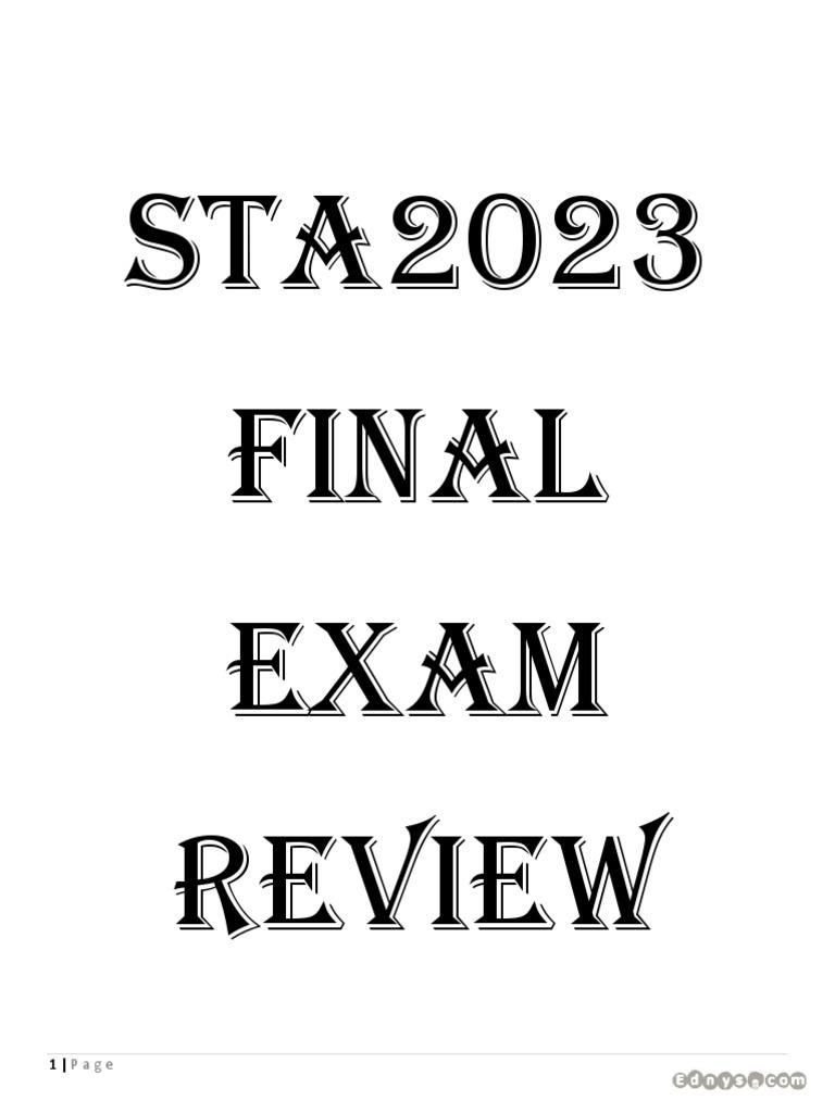 STA2023 Final Exam Grade Saver fall 14 (New) Notes.pdf