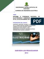 Informe Del Vi Congreso Nacional de Electricidad y Energias Alternativas